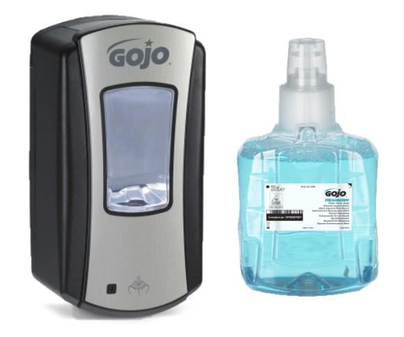 e3fa9048f0e Безконтактен диспенсър за пяна GOJO LTX-12 черен-хром 1200мл + ПОДАРЪК  Пълнител Комплект